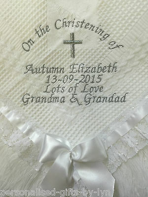 Luxury personalised baby christening shawl