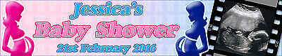 Personalised Baby Shower Banners With Your Baby Scan Photo Pack Of Two Multi