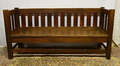 Antique Mission Arts and Crafts Solid Oak Sofa Couch Settee Original finish
