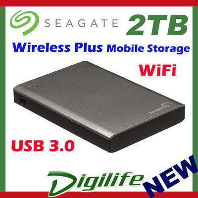 "Seagate Wireless Plus Portable 1TB HDD & USB 3.0 Multi Streaming 2.5"" Pocket HDD"