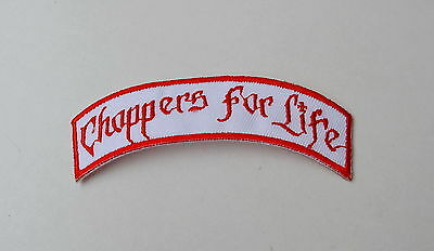 Choppers For Life,Patch,Aufnäher,Vintage,Old School,Badge,WCC,Red & White