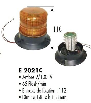 FEUX A ECLATS GYROPHARE A LED 12-80 Volts H 118 mm AMBRE ORANGE E2021C