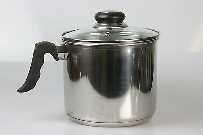 2.5 Litre Stainless Steel Sauce Milk Pan Pot With Clear View Glass Lid 17cm Dia