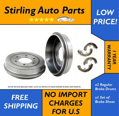 Pair of 2 Brake Drums with Bearing and 4 Brake Shoes Rear Fits Ford Focus 80117