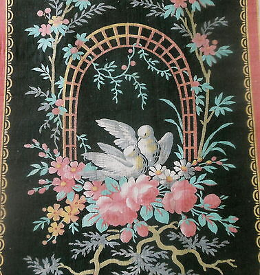 Antique 19thc French Love Birds Roses Basket Cotton Fabric~ rose pink black aqua