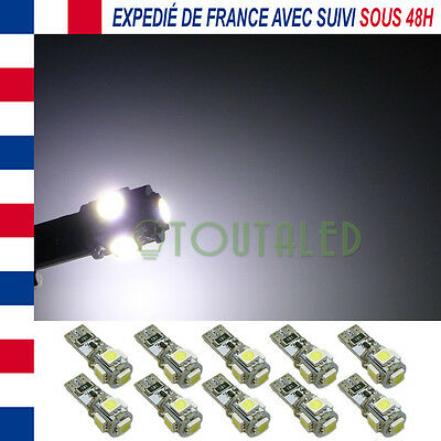 10X Ampoule Lampe 12V T10 W5W 5 Led 5050 Anti Erreur Canbus Odb Blanc Froid