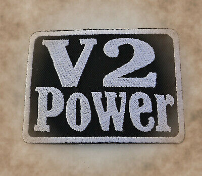 V2 Power Patch Aufnäher Aufbügler Badge Biker Harley Honda Suzuki
