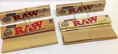 RAW Connoisseur Kingsize Slim Unbleached Rolling Papers Tips Classic and Organic
