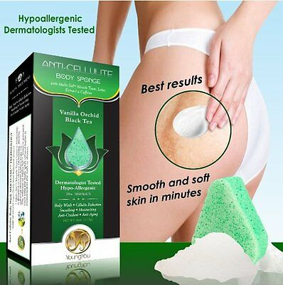 Luxury Bath Sponge Cellulite Removal Body Wash Scrubber Soap Infused – 2 PACK