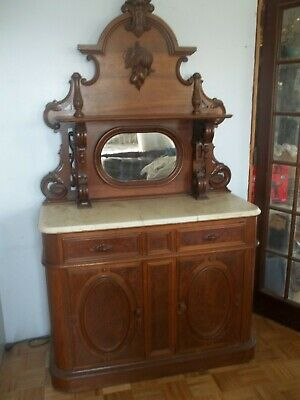 Vintage Victorian Walnut Sideboard  white marble Fancy
