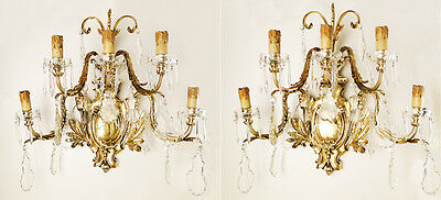 Antique important French Solid bronze and crystal pair of sconces plaquets prism