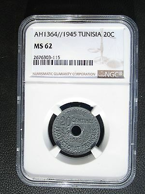 AH1364 1945 Tunisia 20 Centimes NGC MS 62 Scarce Most Melted Only 1 Graded @ NGC