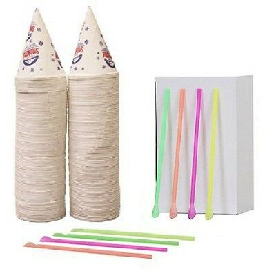 200  Snow Cone Cups Gold Medal brand and 200 Spoon Straws
