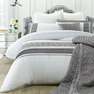 MONICA WHITE Duvet Doona Quilt Cover Set Double Queen King Size Bed by Phase 2
