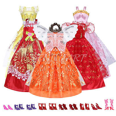 10pair High Heel Sandals Shoes + 5Pcs Dress Clothe For Barbie Doll Toy Princess