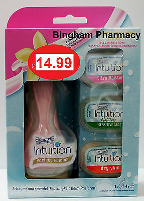 NEW!! Wilkinson Sword Intuition Variety, 4 Blades,FREE Razor from a UK Pharmacy