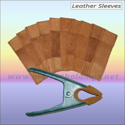 """10 x Leather Spring Clamp Sleeves - Jaw Covers For 6"""" Market Stall Clips - Brown"""