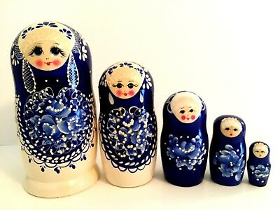 New Hand Painted 6'' Tall Russian Nesting Doll 5 Piece Set Made In Russia