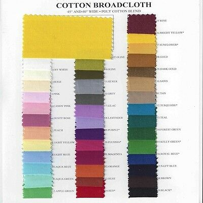 "Cotton Polyester Blend Broadcloth Fabric Apparel 45"" Inches Solid-20 YARD BOLT"