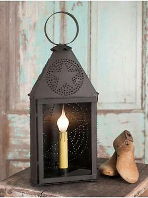 Country Primitive Punched Tin Paul Revere Half Round Lantern Lamp LightWith Star
