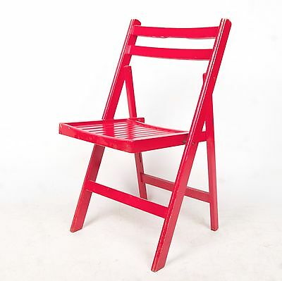 Retro Vintage Folding Chair Danish Red 1960s 70s Dining Kitchen Chair