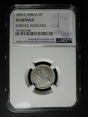 1894 South Africa 6 Pence NGC XF Details - Surface Hairlines