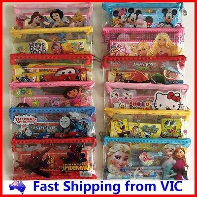 6 in1 Cute Cartoon Pencil Case Stationery Set Novelty Kid School Toy Party Gift