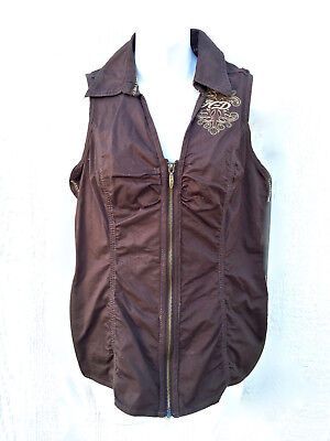 Harley Davidson Vest brown cotton Woman's Small Embroidered