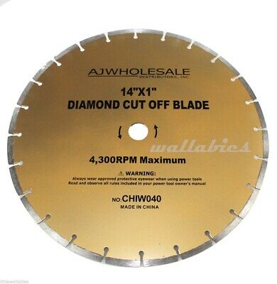 "14"" Diamond Cut Off Saw Blade New Concrete Brick Stone New"