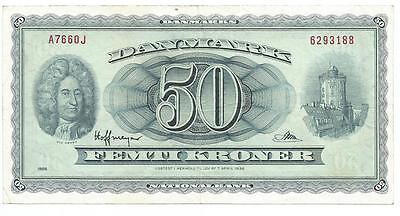 DENMARK 50 KRONER FIFTY 1966  Replacement Note   P 45 Rare Signature variety