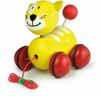 Yellow Sacha The Pull Along Cat by Vilac | Kids Childrens Toddler Push Pull