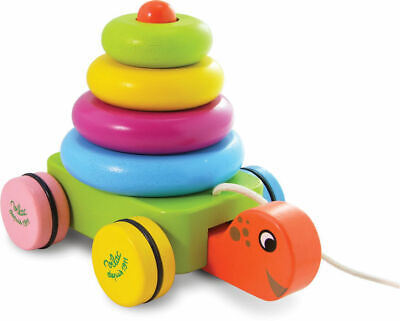 Turtle Stacker Pull along by Vilac   Kids Childrens Toddler Push Pull NEW