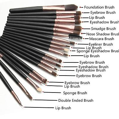 20Pcs Makeup Brush Set Powder Foundation Eyeshadow Eyeliner Lip Cosmetic Brushes
