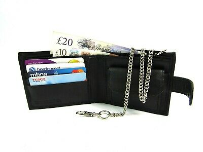 Mens New Black Leather Wallet With Chain Credit Card Holder Coin Pouch Purse 58