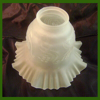 """6.5"""" Victorian Frosted Glass Light Fixture Shade 2"""" Mount Ring ~ Ruffled Edge"""