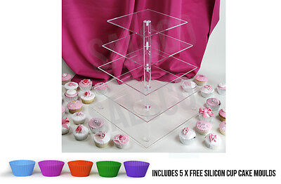 3 5 7 Tier Clear Acrylic Cup Cake Cupcake Stand Birthday Wedding Party Display