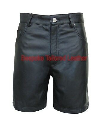 Leather Shorts With Front & Back Pockets - Detailed Stitching - Black Mso-204
