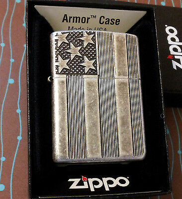 Zippo 28974 Armor Flag Stars Bars Antique Silver Plate Finish NEW in box Lighter