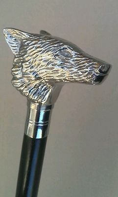 Classic Style Wooden Walking Stick Cane Wolf Face Handle Nickle Finish