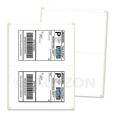 10000 Shipping Labels 8.5x5.5 Rounded Corner Self Adhesive 2 Per Sheet PACKZON®