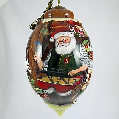 NeQwa Art Santas Toy Shop Ornament Hand Painted Glass 7151176