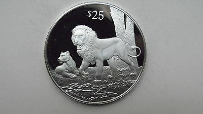 1993 British Virgin Islands $25 Lions Silver Proof coin