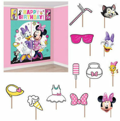 Minnie Mouse Scene Setters Wall Banner Decorating Kit Birthday Party Supplies~