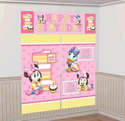 Baby Minnie Mouse Scene Setters Wall Banner Decorating Kit Birthday Supplies~