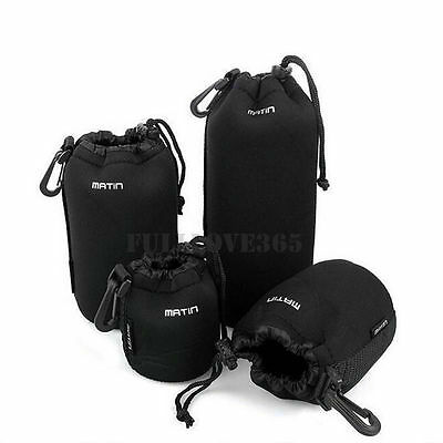 4pcs S+M+L+XL Neoprene Camera DSLR Lens Soft Waterproof Pouch Bag Case Bag Set D