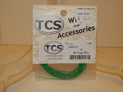 TCS #1200 Green 10 feet of 30 Gauge Wire for DCC NEW