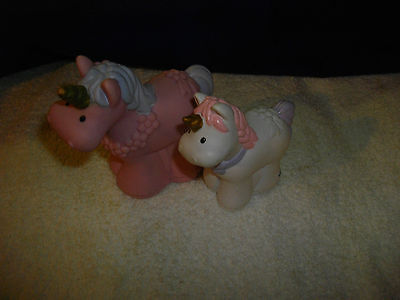 fisher price little people castle princess pink and white  unicorns