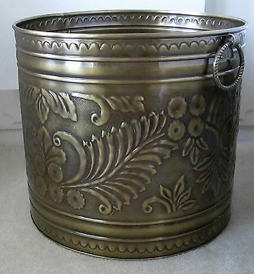 "Large Brass Planter Antique Finish 17.5"" Diameter. Available in 3 Sizes."