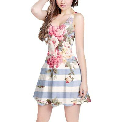 Antique Striped Floral Sleeveless Dress