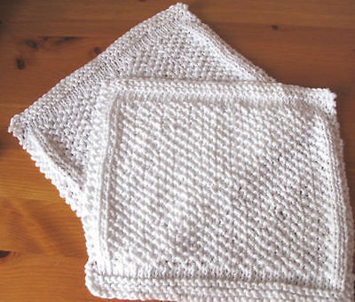 2 x Hand Knitted 100% Cotton New Wash Cloths, Dish Cloths. Seed Stitch Design